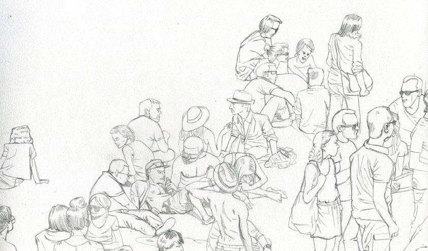 La foule dans Illustration Villette-Sonique