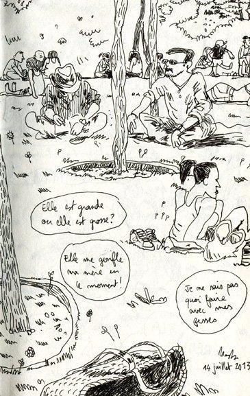 Croquis et Croquette sont dans un bateau  dans Carnets parc-luther-king